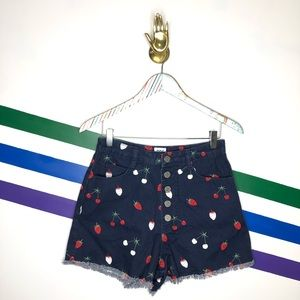 NEW BDG fruity high waist button fly denim shorts